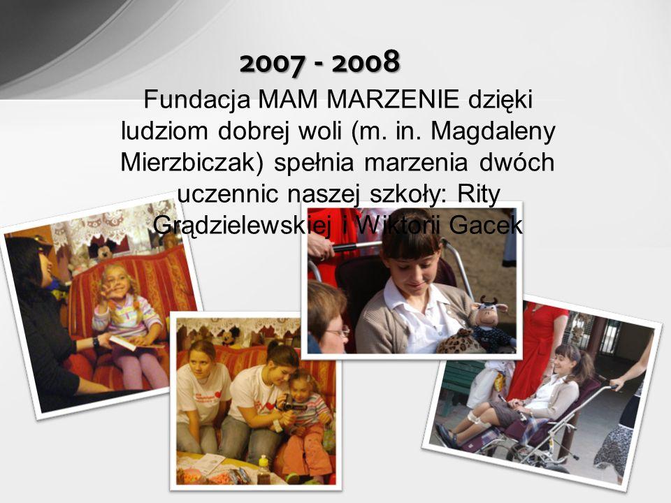 2007 - 2008 Fundacja MAM MARZENIE dzięki ludziom dobrej woli (m.
