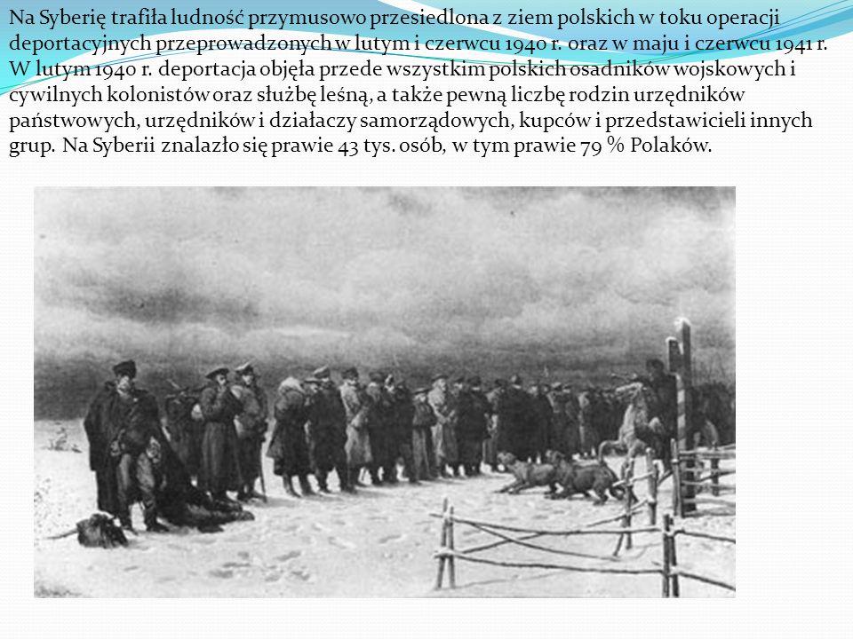 Na Syberię trafiła ludność przymusowo przesiedlona z ziem polskich w toku operacji deportacyjnych przeprowadzonych w lutym i czerwcu 1940 r. oraz w ma