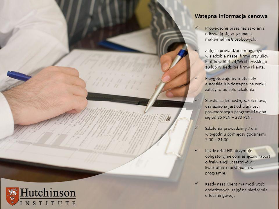 Wstępna informacja cenowa Prowadzone przez nas szkolenia odbywają się w grupach maksymalnie 8 osobowych.