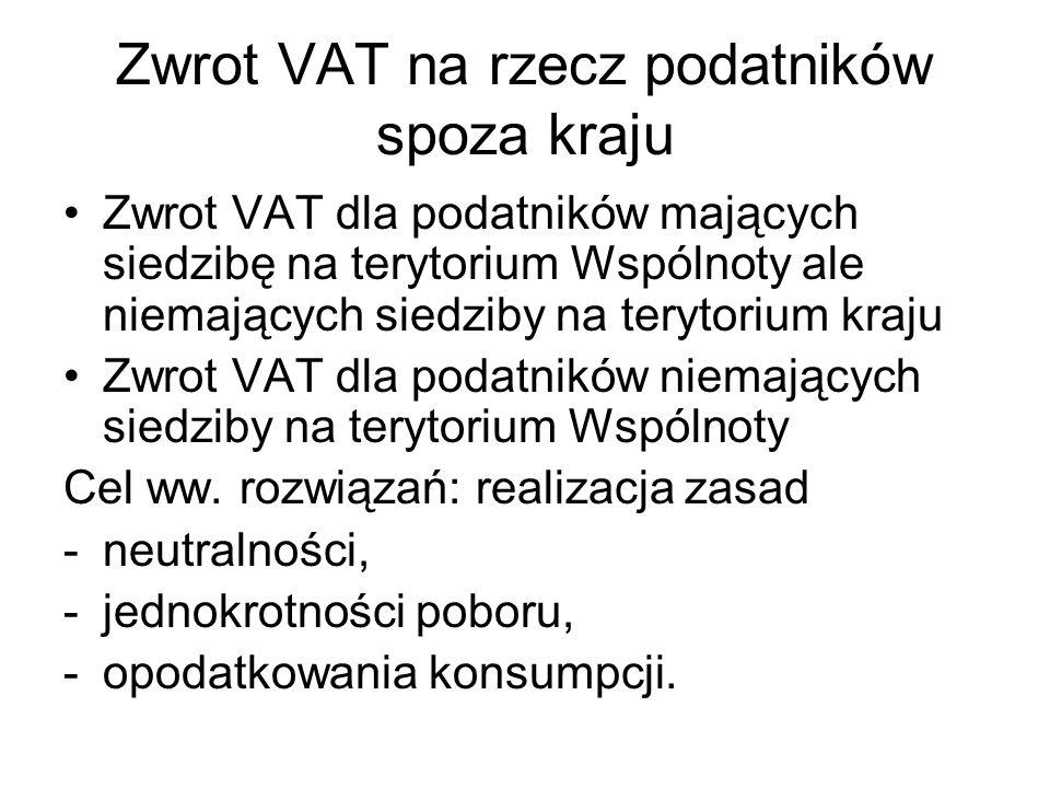Zwrot VAT na rzecz podatników spoza kraju Zwrot VAT dla podatników mających siedzibę na terytorium Wspólnoty ale niemających siedziby na terytorium kr