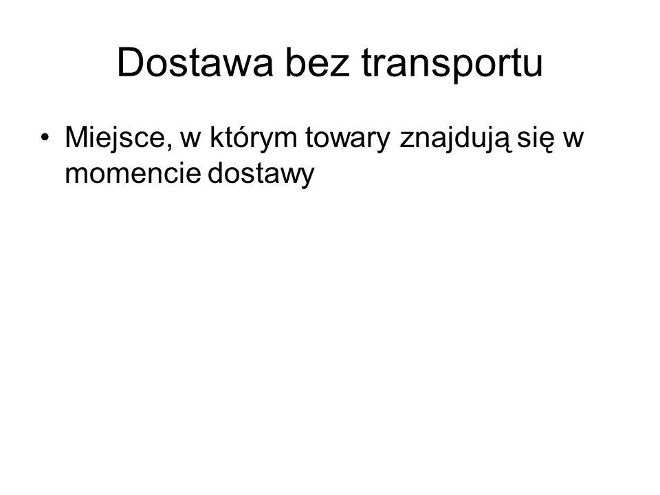 Dostawa z transportem Miejsce, w którym towary znajdują się w momencie rozpoczęcia wysyłki lub transportu do nabywcy.