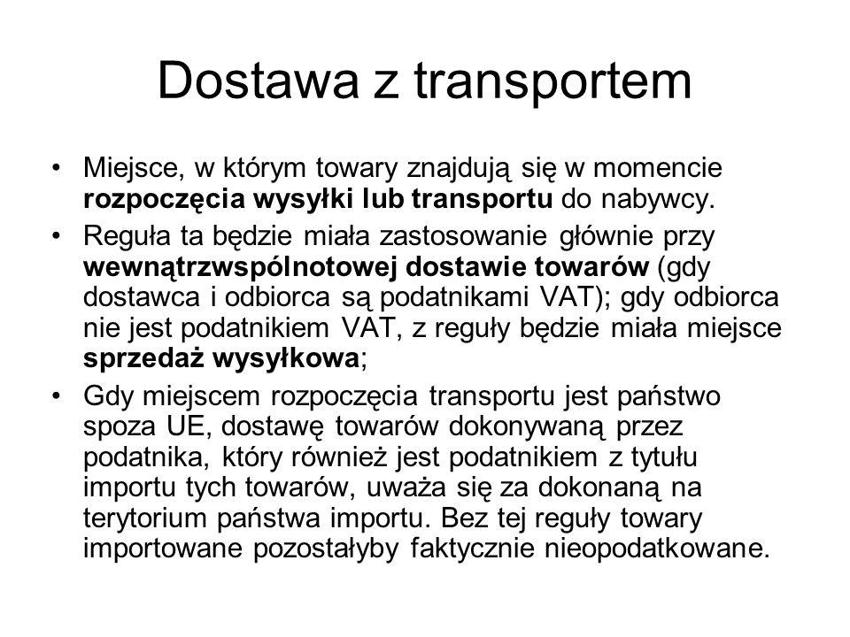 Dostawa z transportem Przykład Dostawca (D) realizuje zamówienie klienta (K).