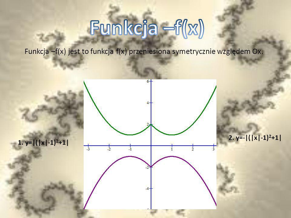 Funkcja –f(x) jest to funkcja f(x) przeniesiona symetrycznie względem Ox. 2. y=-|(|x|-1) 2 +1| 1. y=|(|x|-1) 2 +1|