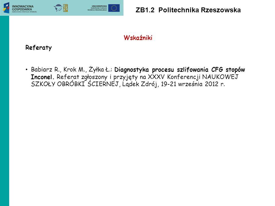 ZB1.2 Politechnika Rzeszowska Wskaźniki Referaty Babiarz R., Krok M., Żyłka Ł.: Diagnostyka procesu szlifowania CFG stopów Inconel. Referat zgłoszony