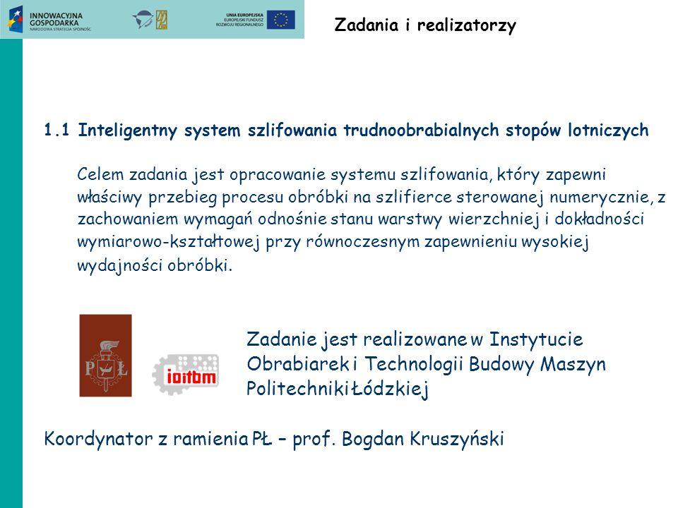 ZB1.3 Politechnika Lubelska Wnioski Do badania dynamiki procesu skrawania zastosowano nowe metody badań, które dają obiecujące wyniki.