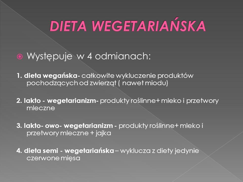 Występuje w 4 odmianach: 1. dieta wegańska- całkowite wykluczenie produktów pochodzących od zwierząt ( nawet miodu) 2. lakto - wegetarianizm- produkty