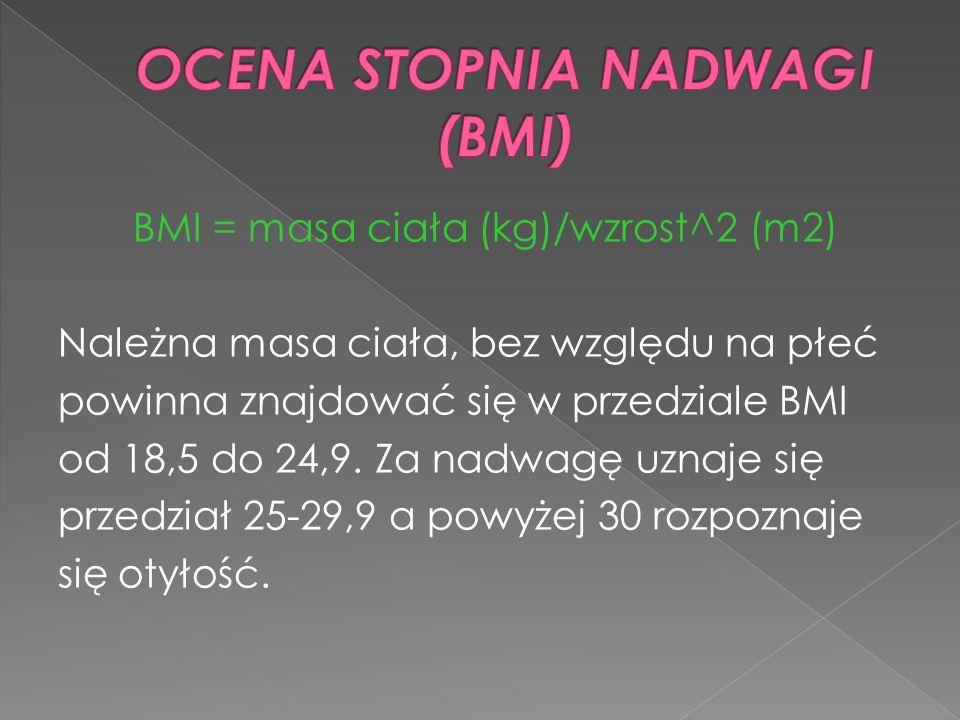 BMI = masa ciała (kg)/wzrost^2 (m2) Należna masa ciała, bez względu na płeć powinna znajdować się w przedziale BMI od 18,5 do 24,9. Za nadwagę uznaje