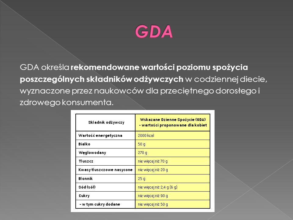 GDA określa rekomendowane wartości poziomu spożycia poszczególnych składników odżywczych w codziennej diecie, wyznaczone przez naukowców dla przeciętn