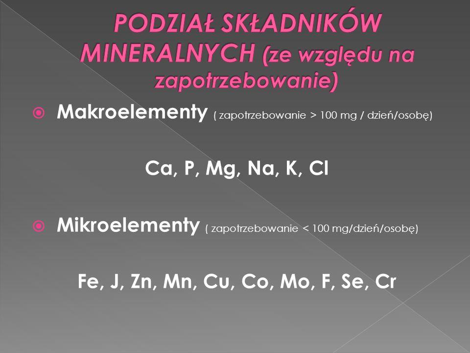 Makroelementy ( zapotrzebowanie > 100 mg / dzień/osobę) Ca, P, Mg, Na, K, Cl Mikroelementy ( zapotrzebowanie < 100 mg/dzień/osobę) Fe, J, Zn, Mn, Cu,