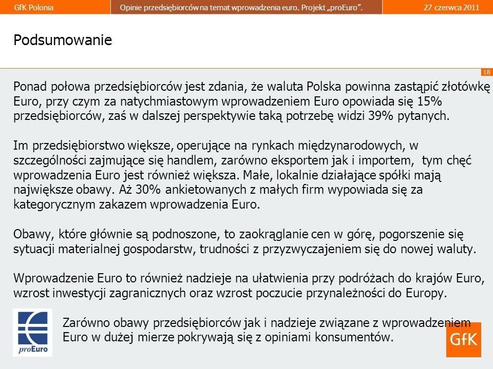 18 GfK PoloniaOpinie przedsiębiorców na temat wprowadzenia euro. Projekt proEuro.27 czerwca 2011 Podsumowanie Ponad połowa przedsiębiorców jest zdania