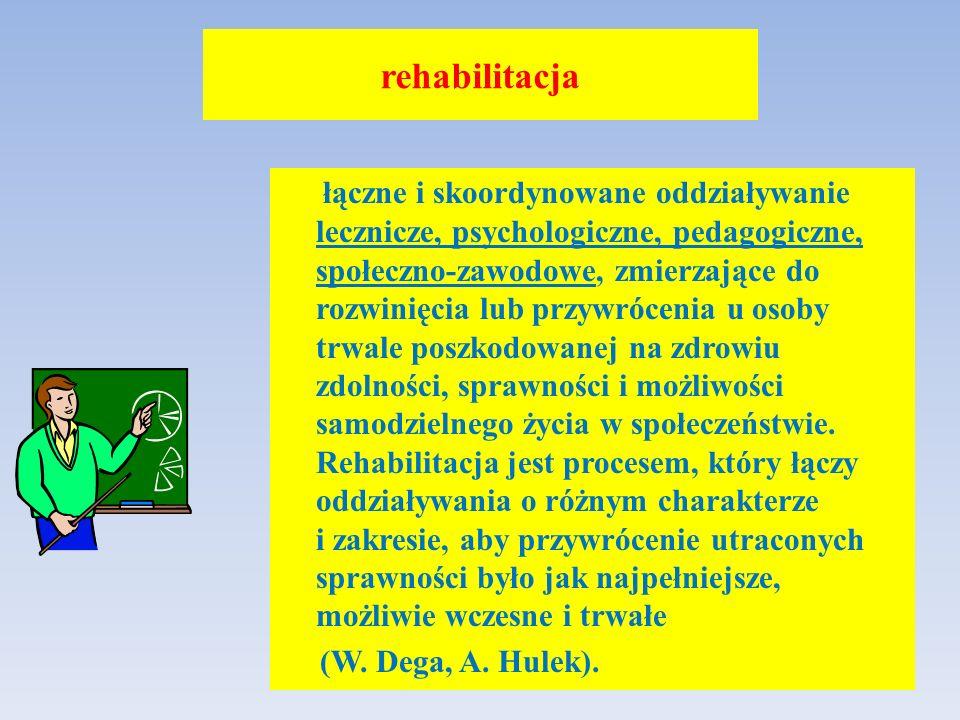 rehabilitacja łączne i skoordynowane oddziaływanie lecznicze, psychologiczne, pedagogiczne, społeczno-zawodowe, zmierzające do rozwinięcia lub przywrócenia u osoby trwale poszkodowanej na zdrowiu zdolności, sprawności i możliwości samodzielnego życia w społeczeństwie.