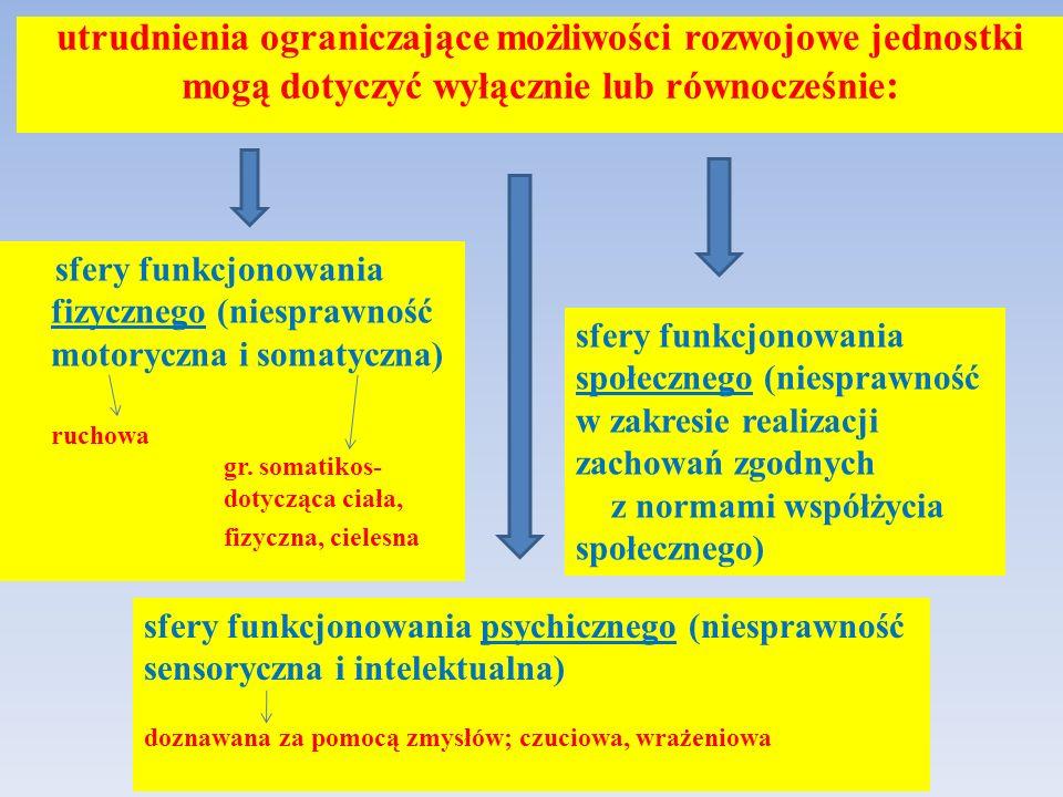 utrudnienia ograniczające możliwości rozwojowe jednostki mogą dotyczyć wyłącznie lub równocześnie : sfery funkcjonowania fizycznego (niesprawność motoryczna i somatyczna) ruchowa gr.
