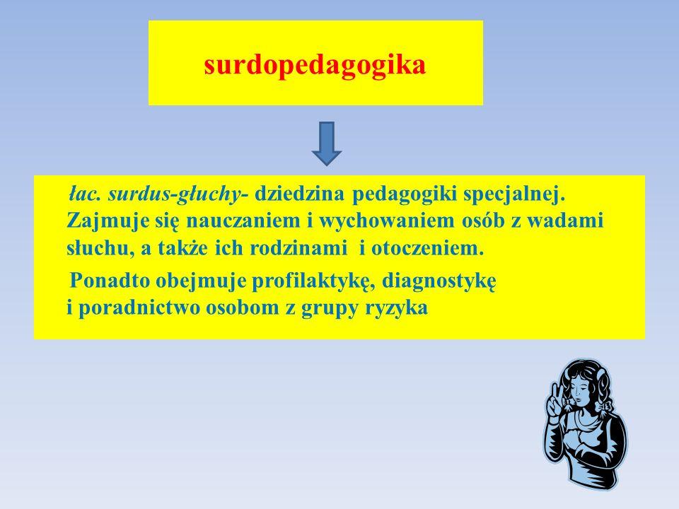 surdopedagogika łac. surdus-głuchy- dziedzina pedagogiki specjalnej. Zajmuje się nauczaniem i wychowaniem osób z wadami słuchu, a także ich rodzinami