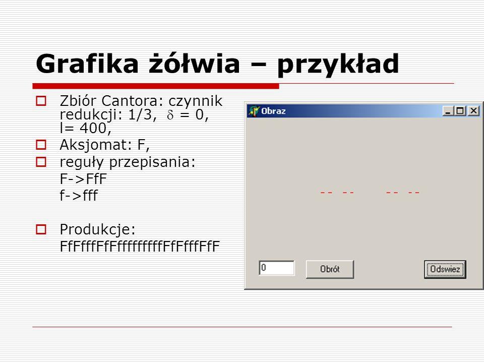 Grafika żółwia – przykład Zbiór Cantora: czynnik redukcji: 1/3, = 0, l= 400, Aksjomat: F, reguły przepisania: F->FfF f->fff Produkcje: FfFfffFfFffffff