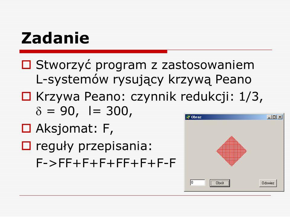 Zadanie Stworzyć program z zastosowaniem L-systemów rysujący krzywą Peano Krzywa Peano: czynnik redukcji: 1/3, = 90, l= 300, Aksjomat: F, reguły przep
