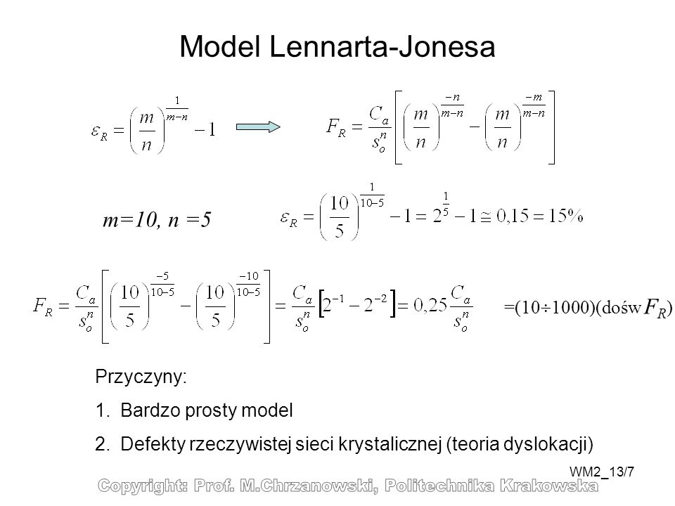 WM2_13/7 Model Lennarta-Jonesa m=10, n =5 =(10 1000)(dośw F R ) Przyczyny: 1.Bardzo prosty model 2.Defekty rzeczywistej sieci krystalicznej (teoria dyslokacji)