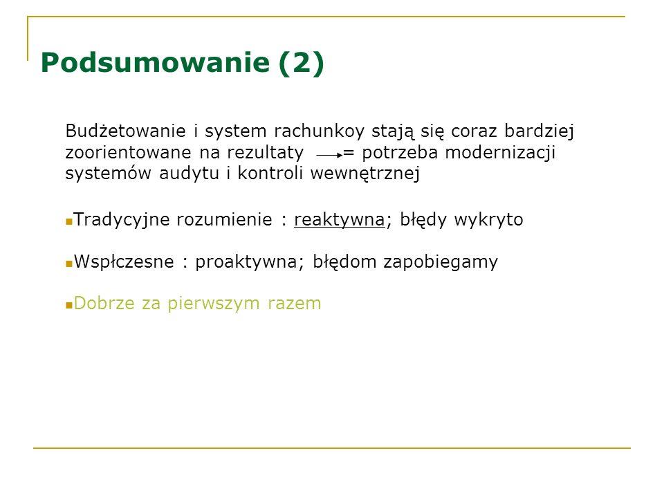 Podsumowanie (2) Budżetowanie i system rachunkoy stają się coraz bardziej zoorientowane na rezultaty = potrzeba modernizacji systemów audytu i kontrol