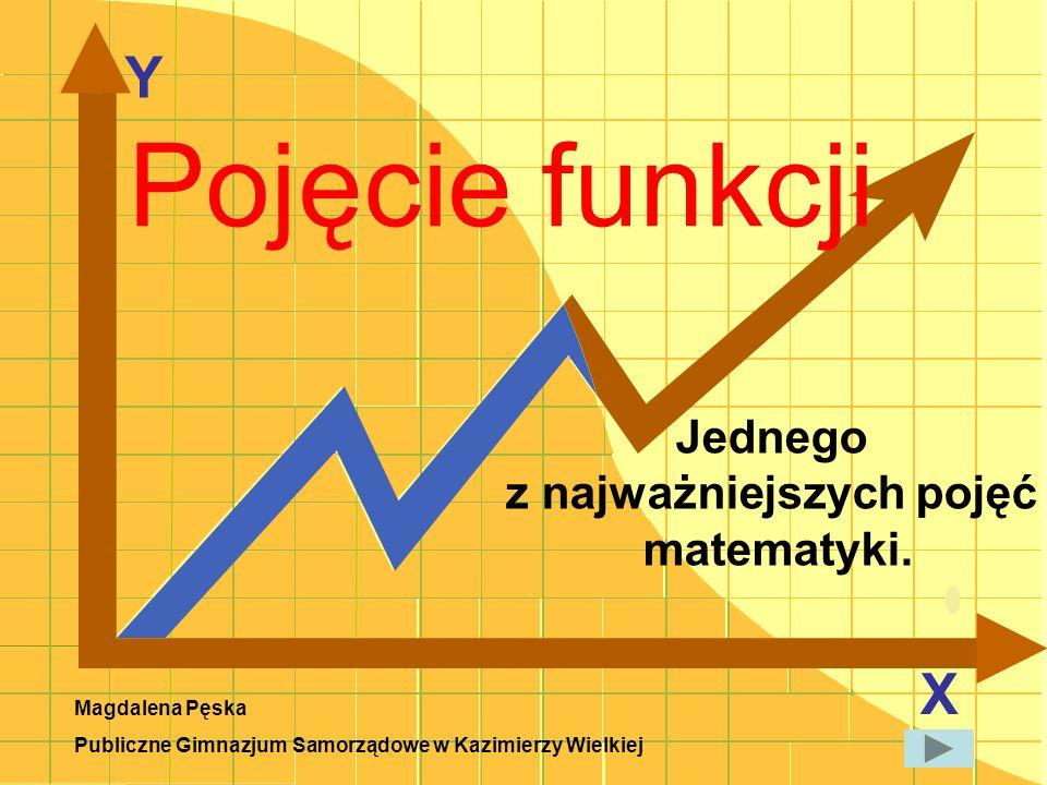 Y X Jednego z najważniejszych pojęć matematyki. Pojęcie funkcji Magdalena Pęska Publiczne Gimnazjum Samorządowe w Kazimierzy Wielkiej