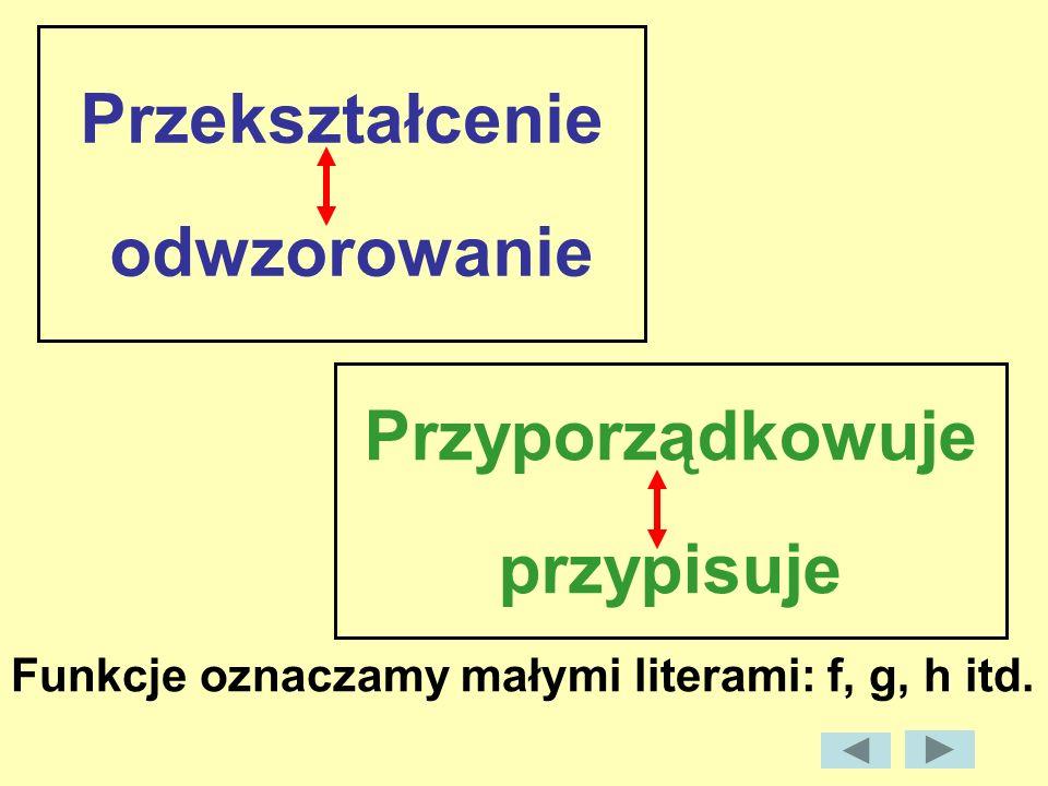 Przyporządkowuje przypisuje Funkcje oznaczamy małymi literami: f, g, h itd. Przekształcenie odwzorowanie
