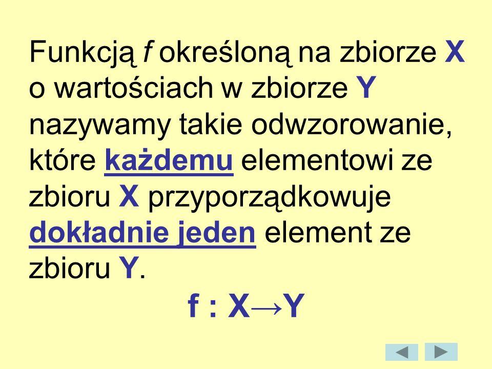 Funkcją f określoną na zbiorze X o wartościach w zbiorze Y nazywamy takie odwzorowanie, które każdemu elementowi ze zbioru X przyporządkowuje dokładni