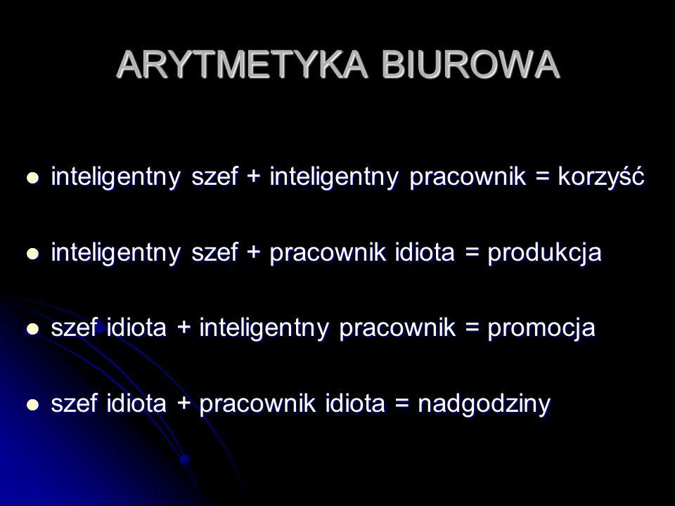 ARYTMETYKA BIUROWA inteligentny szef + inteligentny pracownik = korzyść inteligentny szef + inteligentny pracownik = korzyść inteligentny szef + praco