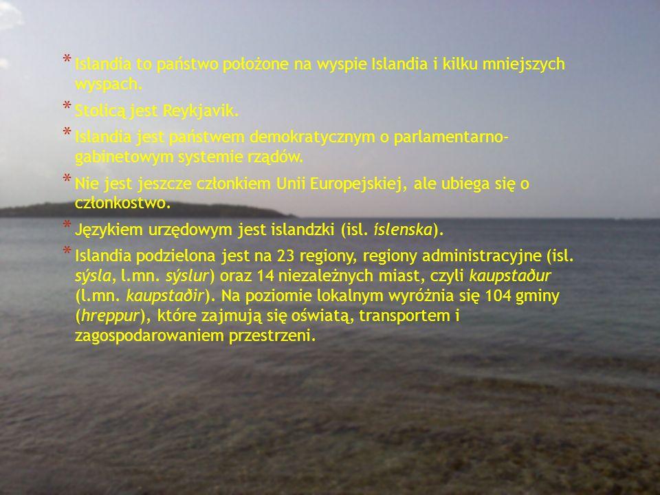 * Islandia to państwo położone na wyspie Islandia i kilku mniejszych wyspach. * Stolicą jest Reykjavik. * Islandia jest państwem demokratycznym o parl