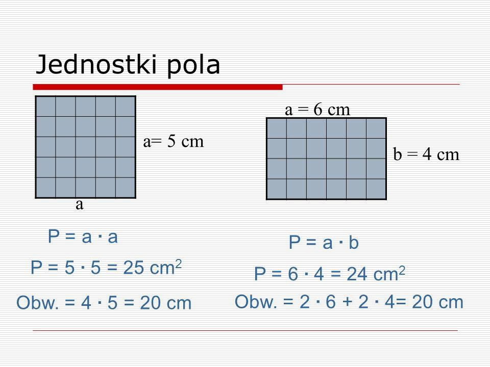 P = a · b a = 6 cm b = 4 cm Jednostki pola P = 6 · 4 = 24 cm 2 P = a · a a= 5 cm P = 5 · 5 = 25 cm 2 a Obw. = 4 · 5 = 20 cm Obw. = 2 · 6 + 2 · 4= 20 c
