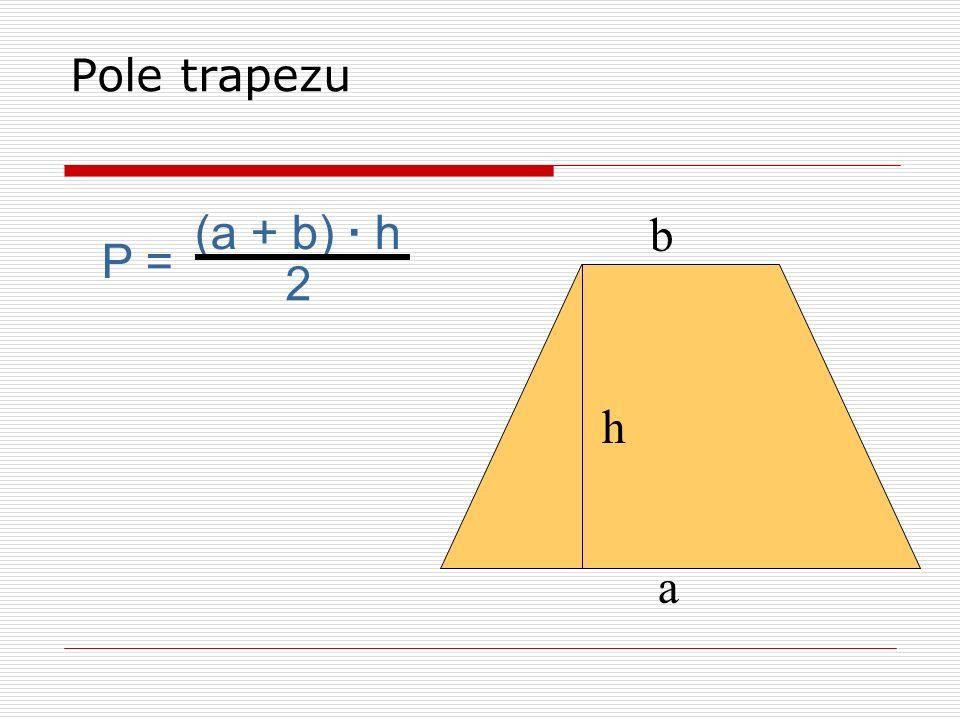 a b P = a · b Pole prostokąta P = a · a lub a 2 P = a · h P = e · f 2 P = a ·h 2 P = (a + b) · h 2