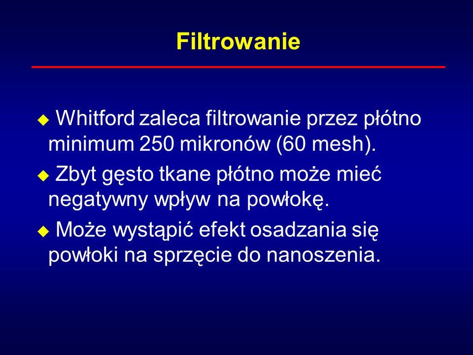 u Whitford zaleca filtrowanie przez płótno minimum 250 mikronów (60 mesh).