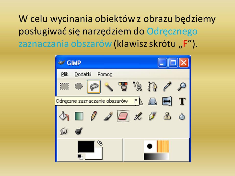 W celu wycinania obiektów z obrazu będziemy posługiwać się narzędziem do Odręcznego zaznaczania obszarów (klawisz skrótu F).