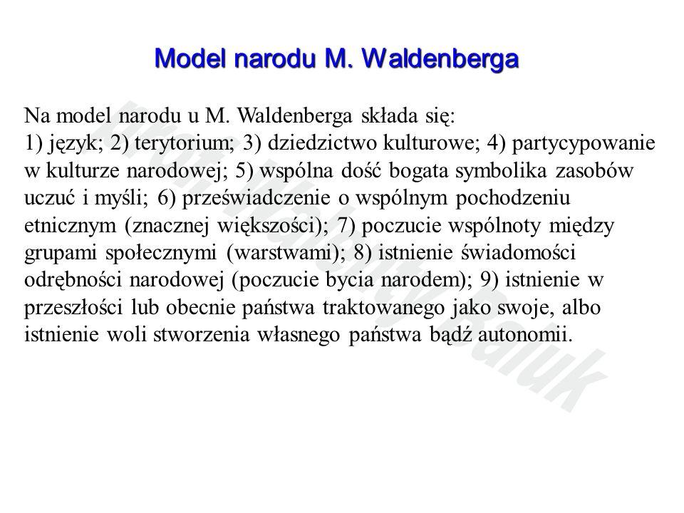 Model narodu M. Waldenberga Na model narodu u M. Waldenberga składa się: 1) język; 2) terytorium; 3) dziedzictwo kulturowe; 4) partycypowanie w kultur