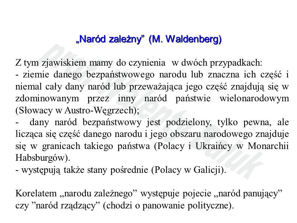 Naród zależny (M. Waldenberg) Z tym zjawiskiem mamy do czynienia w dwóch przypadkach: - ziemie danego bezpaństwowego narodu lub znaczna ich część i ni