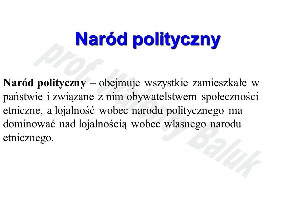 Naród polityczny Naród polityczny – obejmuje wszystkie zamieszkałe w państwie i związane z nim obywatelstwem społeczności etniczne, a lojalność wobec