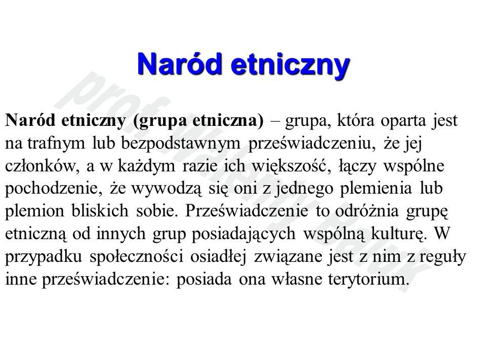 Naród etniczny Naród etniczny (grupa etniczna) – grupa, która oparta jest na trafnym lub bezpodstawnym przeświadczeniu, że jej członków, a w każdym ra