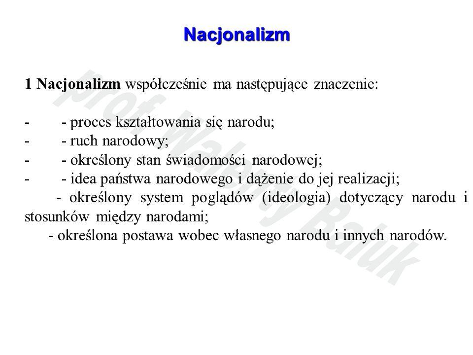 Nacjonalizm 1 Nacjonalizm współcześnie ma następujące znaczenie: - - proces kształtowania się narodu; - - ruch narodowy; - - określony stan świadomośc