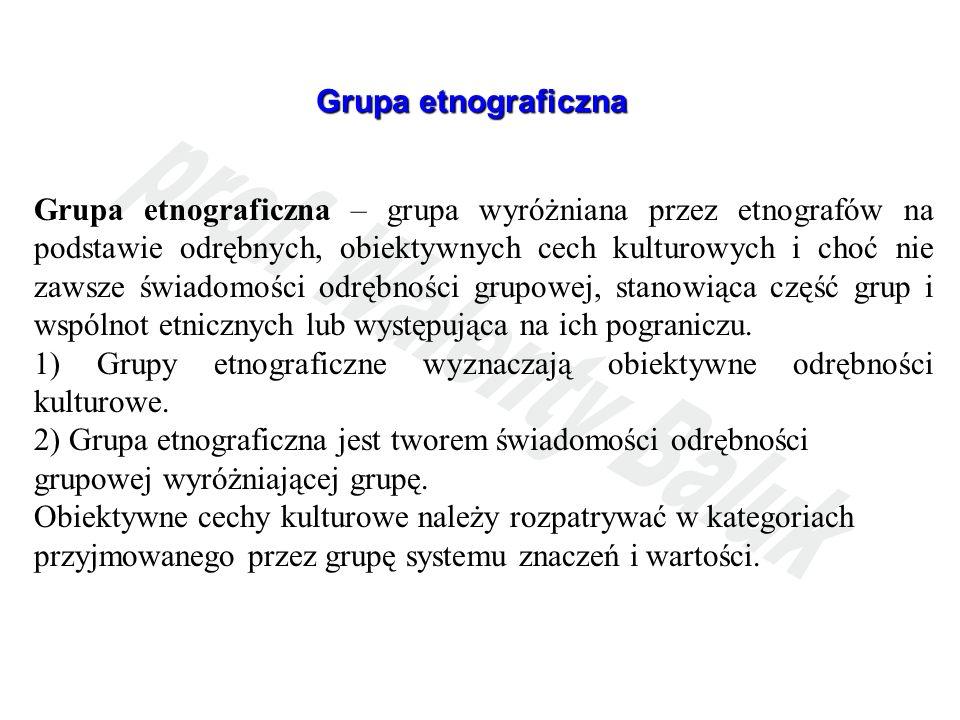 Grupa etnograficzna Grupa etnograficzna – grupa wyróżniana przez etnografów na podstawie odrębnych, obiektywnych cech kulturowych i choć nie zawsze św