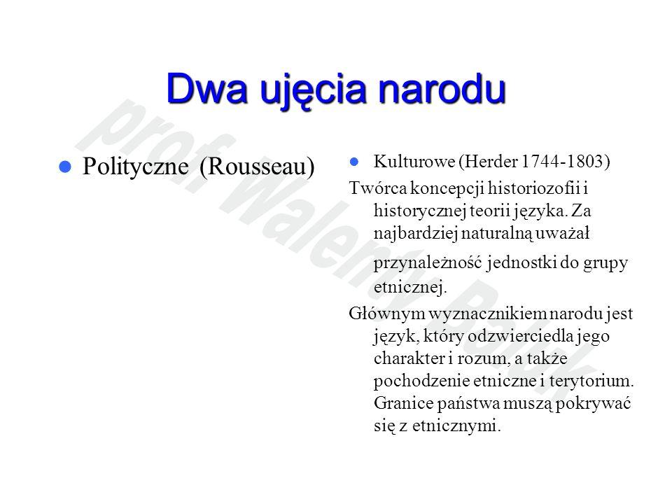 Dwa ujęcia narodu Polityczne (Rousseau) Kulturowe (Herder 1744-1803) Twórca koncepcji historiozofii i historycznej teorii języka. Za najbardziej natur