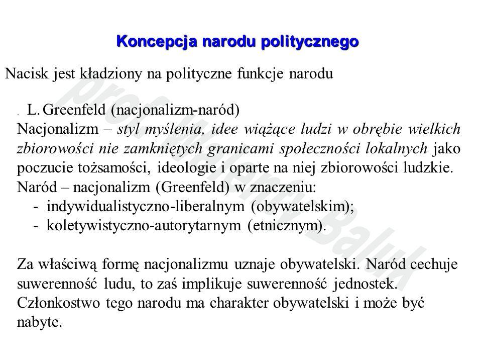 Koncepcja narodu politycznego Nacisk jest kładziony na polityczne funkcje narodu. L. Greenfeld (nacjonalizm-naród) Nacjonalizm – styl myślenia, idee w