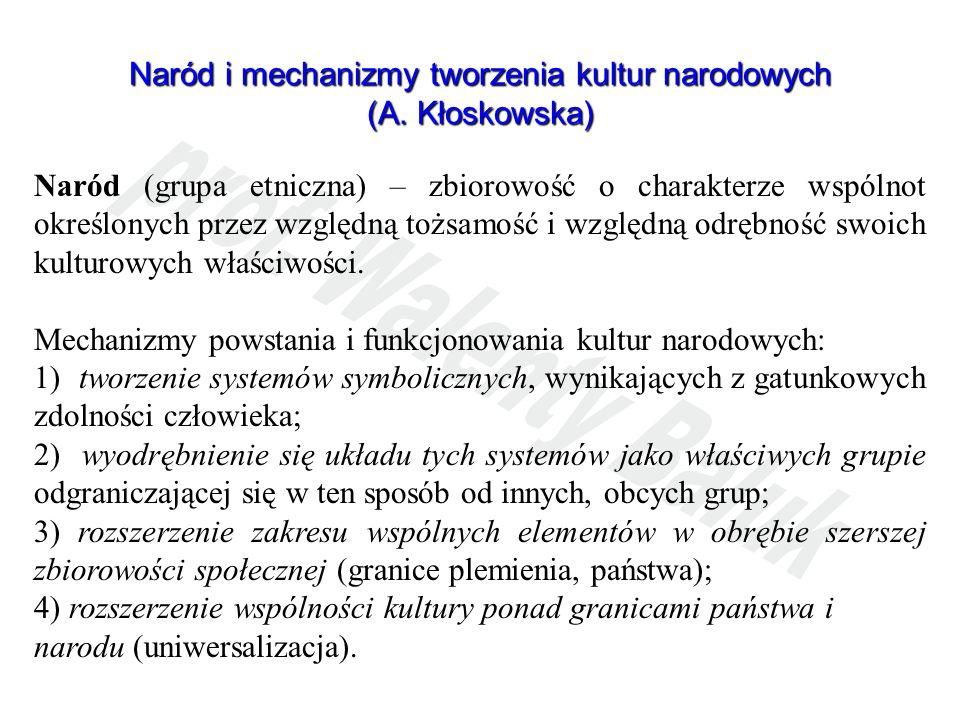 Naród i mechanizmy tworzenia kultur narodowych (A. Kłoskowska) Naród (grupa etniczna) – zbiorowość o charakterze wspólnot określonych przez względną t