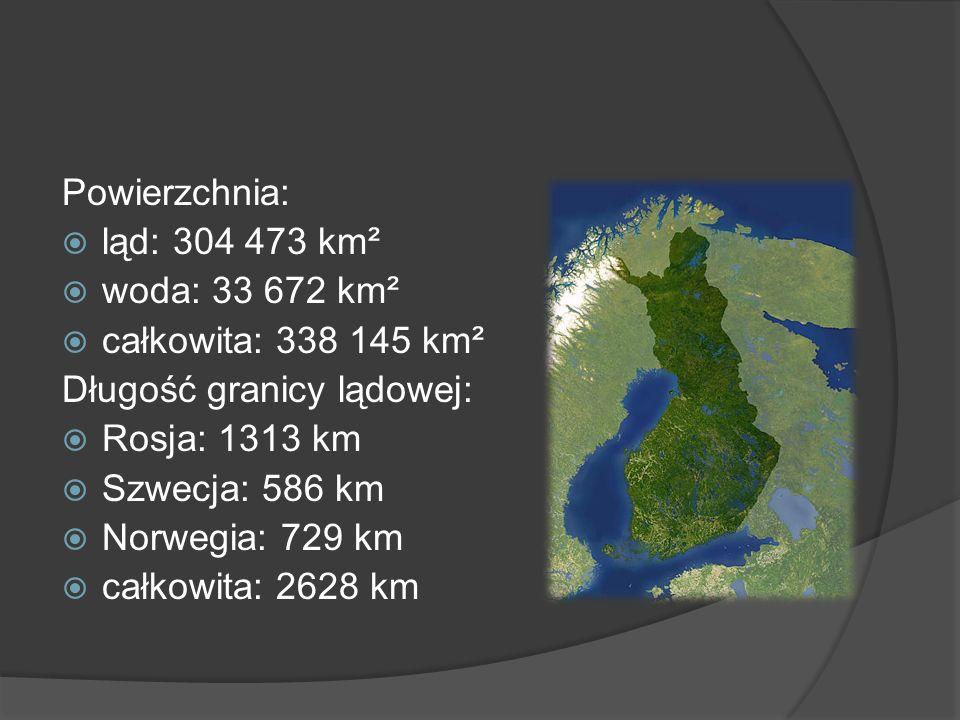 Powierzchnia: ląd: 304 473 km² woda: 33 672 km² całkowita: 338 145 km² Długość granicy lądowej: Rosja: 1313 km Szwecja: 586 km Norwegia: 729 km całkow