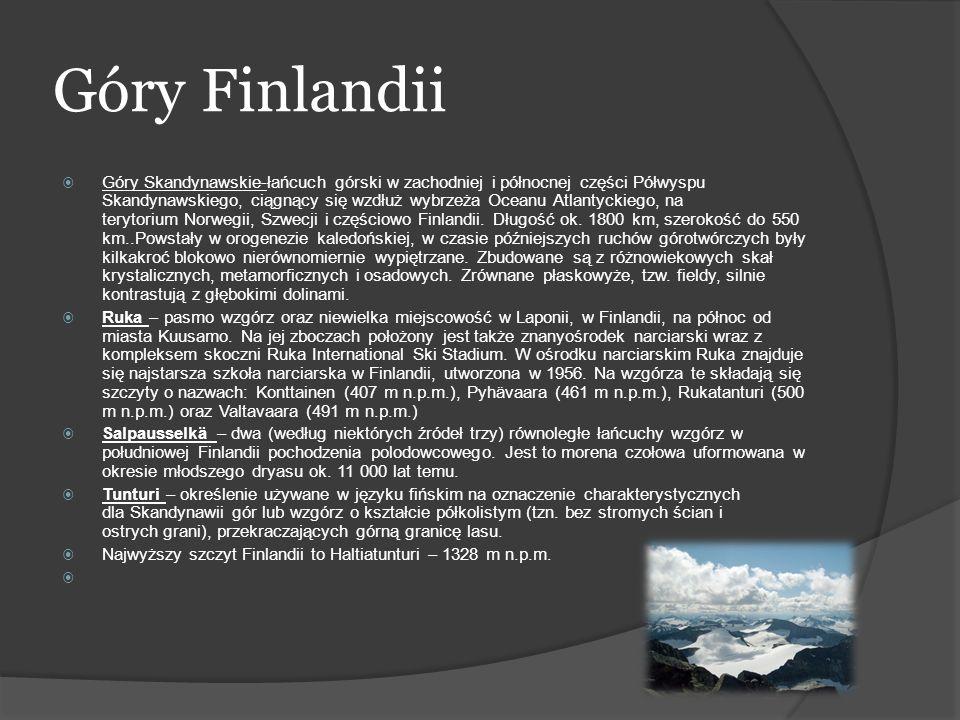 Zasoby wodne Finlandii Finlandia jest bardzo zasobna w wody powierzchniowe, podstawowym elementem krajobrazu są właśnie jeziora, których powierzchnia łączna zajmuje prawie 10% powierzchni kraju.