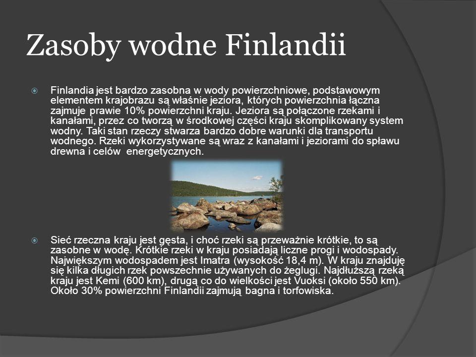 Zasoby wodne Finlandii Finlandia jest bardzo zasobna w wody powierzchniowe, podstawowym elementem krajobrazu są właśnie jeziora, których powierzchnia