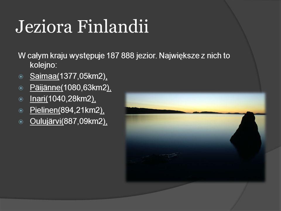 Jeziora Finlandii W całym kraju występuje 187 888 jezior. Największe z nich to kolejno: Saimaa(1377,05km2), Päijänne(1080,63km2), Inari(1040,28km2), P