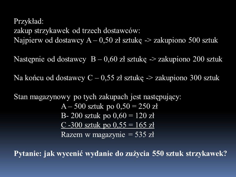 Przykład: zakup strzykawek od trzech dostawców: Najpierw od dostawcy A – 0,50 zł sztukę -> zakupiono 500 sztuk Następnie od dostawcy B – 0,60 zł sztuk