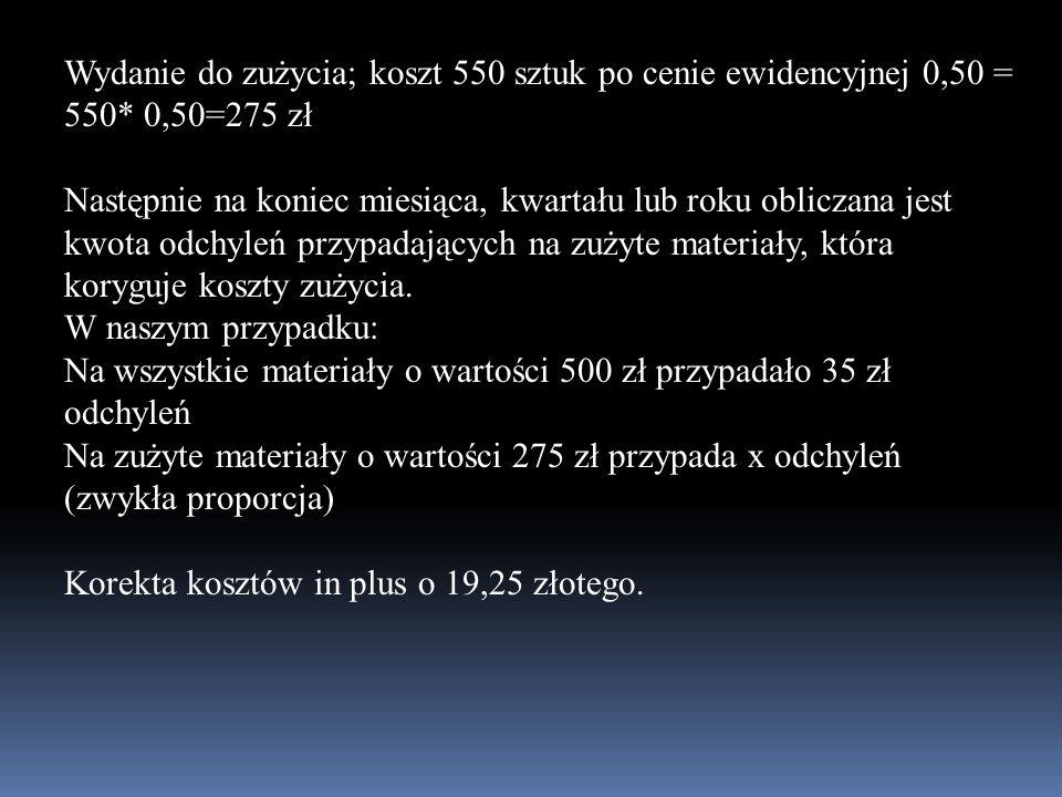 Wydanie do zużycia; koszt 550 sztuk po cenie ewidencyjnej 0,50 = 550* 0,50=275 zł Następnie na koniec miesiąca, kwartału lub roku obliczana jest kwota
