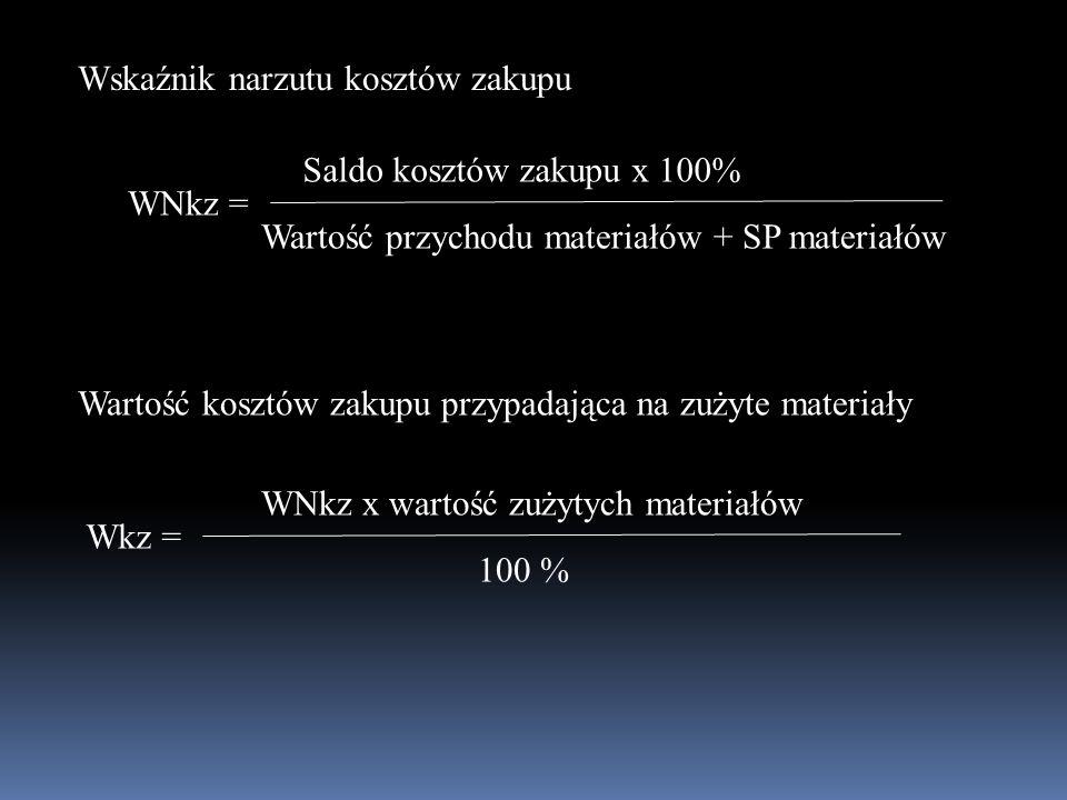 WNkz = Saldo kosztów zakupu x 100% Wartość przychodu materiałów + SP materiałów Wskaźnik narzutu kosztów zakupu Wartość kosztów zakupu przypadająca na