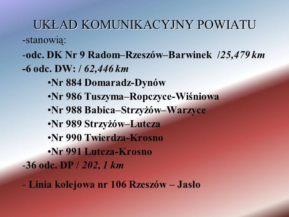 UKŁAD KOMUNIKACYJNY POWIATU -stanowią: -odc. DK Nr 9 Radom–Rzeszów–Barwinek /25,479 km -6 odc.