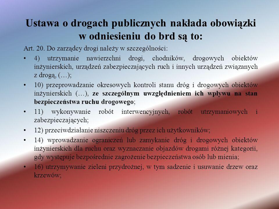 Ustawa o drogach publicznych nakłada obowiązki w odniesieniu do brd są to: Art.