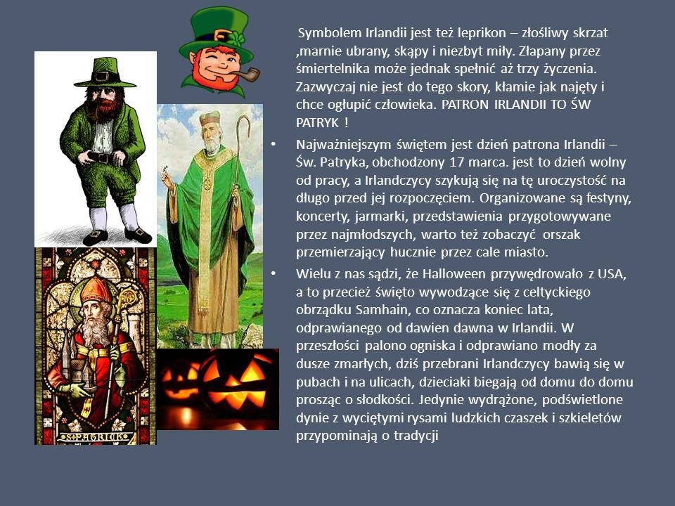Symbolem Irlandii jest też leprikon – złośliwy skrzat,marnie ubrany, skąpy i niezbyt miły. Złapany przez śmiertelnika może jednak spełnić aż trzy życz