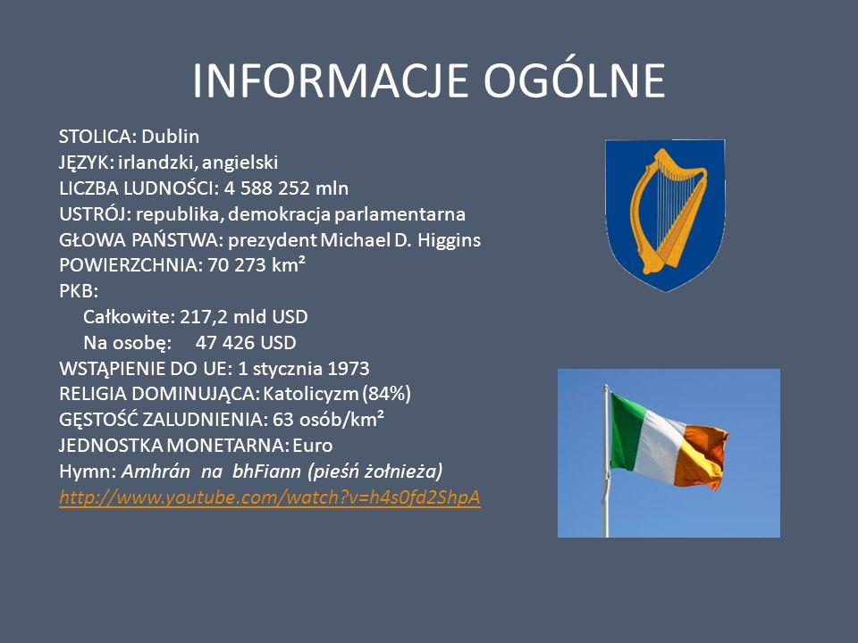 INFORMACJE OGÓLNE STOLICA: Dublin JĘZYK: irlandzki, angielski LICZBA LUDNOŚCI: 4 588 252 mln USTRÓJ: republika, demokracja parlamentarna GŁOWA PAŃSTWA